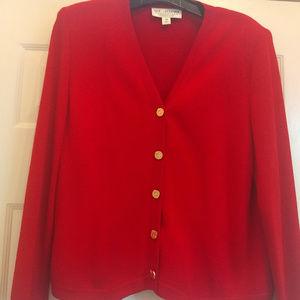 St. John Knit Red Cardigan Size 14